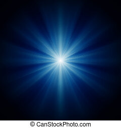 bright star with blue luminous rays