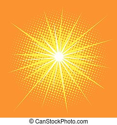 bright star with rays pop art retro background