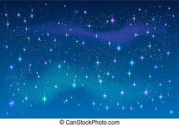 Bright stars in blue night sky. Vector space