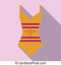 Bright striped swimsuit. Beach female form.Swimsuits single icon in cartoon style vector symbol stock illustration.