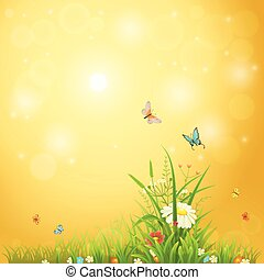 Bright summer background with sunshine, flowers, butterflies...
