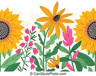 Bright summer flowers, vector seamless decorative background