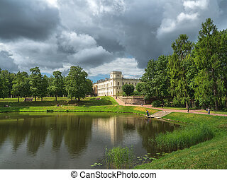 Bright summer landscape of the Park with a Large Gatchina Palace. Russia
