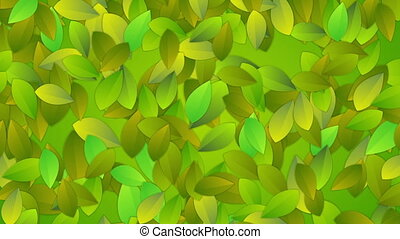 Bright summer leaves abstract video animation - Bright green...