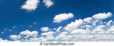bright summer sky with cumulus clouds
