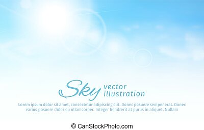 Bright summer sun and clouds. horizontal sky background. vector illustration
