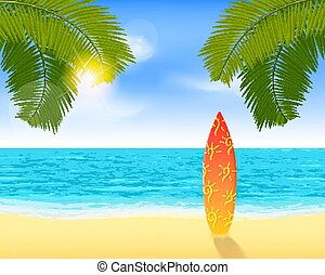 Bright summer vacation background with plage and palms