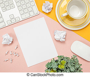 Bright summer workspace with blank sheet of paper