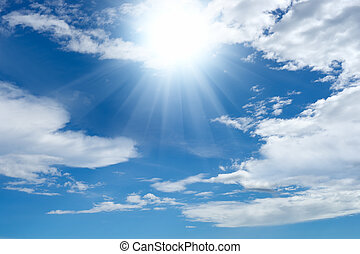 Bright sun and clouds