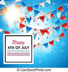Bright sun on a 4th July Independence Day card