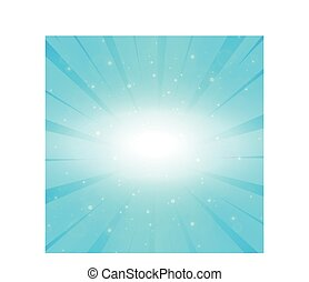 Bright sun on a blue background - Illustration