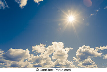 Bright sun on blue sky with clouds - bright sun on blue sky ...