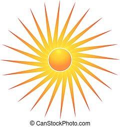 Bright sun vector symbol