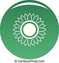Bright sunflower icon vector green