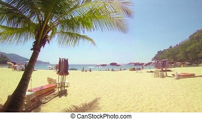 Bright, Sunny Day at an Inviting Tropical Beach Resort in...