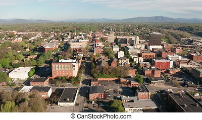Bright Sunny Daylight Sky Aerial Perspective Downtown...