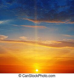 bright sunrise and beautiful sky