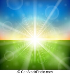 Bright sunrise lens flare background.