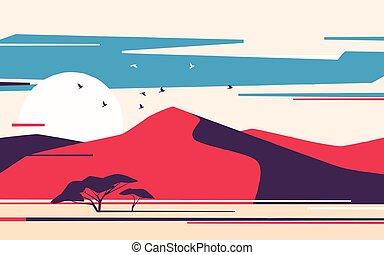 Bright sunrise over the desert sand dunes. Vector illustration