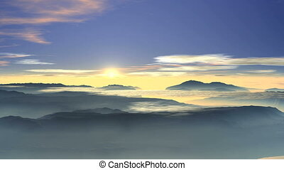 Bright sunrise over the foggy valle