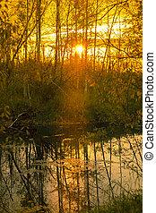 Bright sunrise over the river in September
