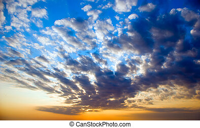bright sunset and cirrus clouds