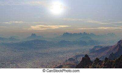 Bright sunset in the desert