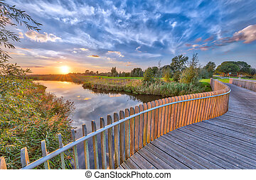 Bright sunset over Wooden Balustrade
