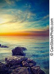 a calm sea. Vintage style