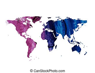 Bright tech watercolor world map