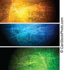 Set of vibrant grunge banners. Eps 10 vector illustration