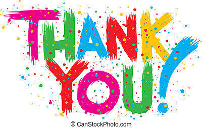 Bright Thank You - Colourful cartoon text reading THANK YOU!...