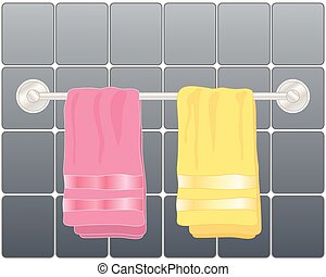 bright towels - a vector illustration in eps 10 format of a ...