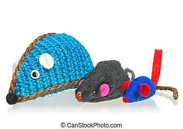 Bright toy mice - Toy mice for little kitten isolated on ...