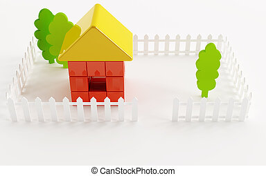 Bright toy small house and trees and fence around