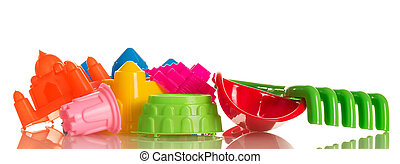Bright toys for playing in sandbox isolated on white background