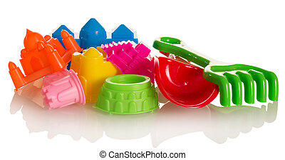 Bright toys for sandbox isolated on white.