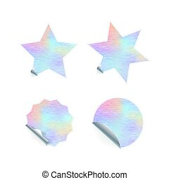 Bright trendy adhesive stickers with hologram pattern on white