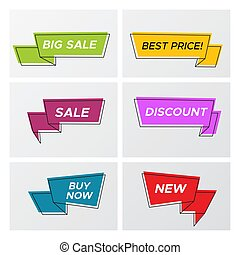 Bright trendy sale ribbon tags in bright colors