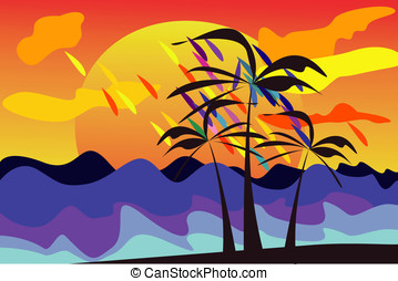 bright tropical island with palms