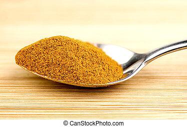 Bright turmeric powder in teaspoon
