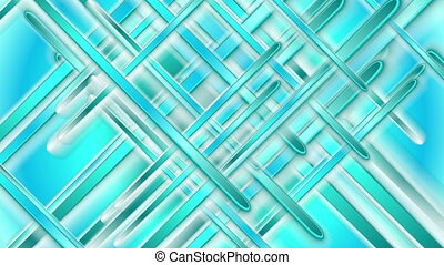 Bright turquoise glossy stripes abstract video animation -...