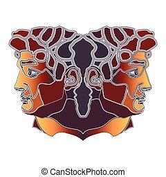 Bright twins portrait, zodiac Gemini sign - Bright colorful...