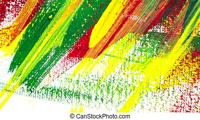 Bright varied art background of colored lines of brush strokes made paint. Various brush lines closeup. Abstract colorful background. Multicolored bright colorful stripes painted by paint. Art drawing