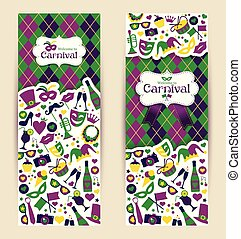 Bright vector carnival banners and Welcome to Carnival