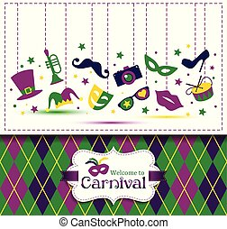 Bright vector carnival seamless texture and Welcome to Carnival