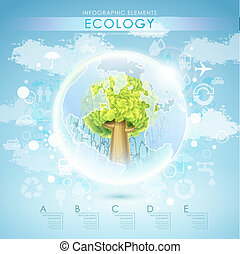 bright vector ecology template with tree and earth