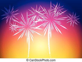 Bright vector fireworks background