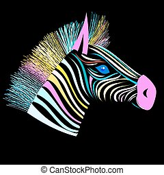 Bright vector head of a zebra