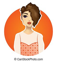 Illustration Of Cartoon Female Character Isolated On White Cartoon